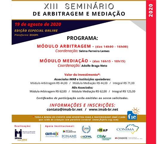XIII SEMINÁRIO DE ARBITRAGEM E MEDIAÇÃO - ZOOM